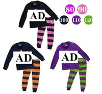 wholesale brand name clothes - Brand name boys girls casual long sleeve printed t shirt striped leggings set fashion design children s cotton clothes suit