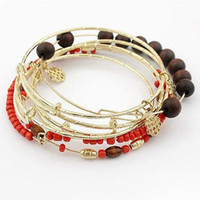 Cheap JZ063 sweet cherry wood beads woven multi-layer set bracelet 12pcs lot