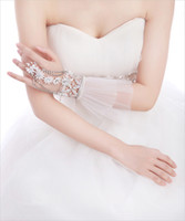 Wholesale Fashion Wedding Bridal Ladies Crystal Rhinestone Silver Chain White Lace Flowers Pearls Ribbon Hand Tennis Bracelet Bands With Ring Jewelry
