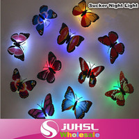 Cheap Hot Fashion Colorful flowers decorated luminescent night light butterfly sucker, sucker decorative lights, wall lights,5X