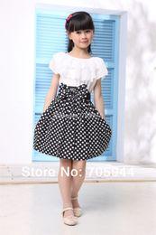 Wholesale Girls big bow dots A line dress lace cape collar clothing elegant princess cute kids teen toddler prescholler outerwear