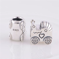 Cheap 925 Sterling Silver Baby Carriage Charm for a Boy or Girl Fit Pandora European Bracelet Necklaces & Pendants, LW242
