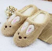 Cheap Family Unisex Mens Womens Children Mom Daddy Cartoon Animal Print Rabbit Slippers Home Flat Shoes Warm Winter Indoor
