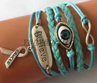 Wholesale believe Turkey blue eyes Awareness Charm Bracelet in Silver Breast Cancer Awareness Ribbon with blue wax leather bracelets infinity bracelet