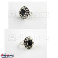 Cheap 10xAntique Silver color Black Gem Stone Adjustable Ring Free Shipping