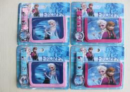 2016 popular Frozen Elsa Anna princess kid children's girl coin purse bag wallet + watch 2pcs set cartoon cute candy box for gift