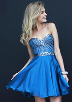 Cheap 2014 New Homecoming Dresses Blue Sleeveless Corset Beads Short Mini Cocktail Dress Prom Gowns Hot Sale