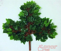 New Year artificial ficus - Banyan Leaves Ficus Branches Leaves Decoration Artificial Plants Rustic Bowyer Home Decoration Decorative Flowers