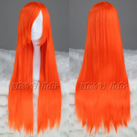 Wholesale 80cm Orange Long Straight Synthetic Cosplay Wig With Full Bangs COS Costume Wig