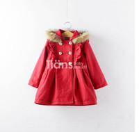 Wholesale Children s girls Rabbit fur hooded coats Children s babys button cardigan jackets coats outerwear tench coats