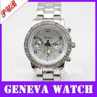Cheap New Classic geneva quartz wrist watches women luxury designer brand discount wholesale watches free Shipping alloy metal band