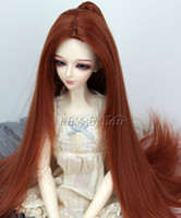 Wholesale Wig for quot BJD Dollfile Wig Luts SD DZ DOD DL Long Straight Auburn Wig with Ponytail