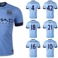 Wholesale WHOLESAE Man City Jersey Home Blue KUN AGUERO LAMPARD ZABALET TOURE YAYA Manchester Soccer Jerseys Kits Top AAA Qualily Player