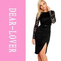 Cheap Black Lace Side Slit Vintage Party Dress with Belt LC6434 blusa de renda manga comprida casual women winter 2014 midi dresses