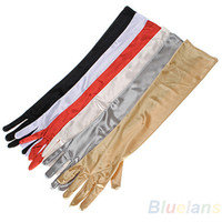 Wholesale 1 Pair Women Arm Long Satin Finger Elbow Gloves Evening Party Bridal Wedding Opera Formal Gloves A4