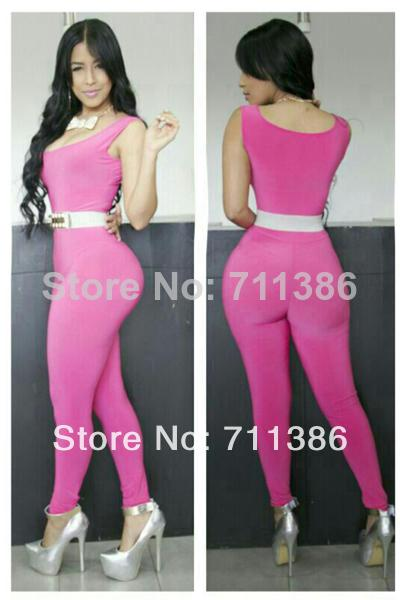 2014 New Fashion Sexy Club Bodycon Jumpsuit Pink Womens Rompers ...