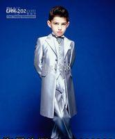 Wholesale Boy s Formal Occasion Silver long Tuxedos Custom Made Little Men Suits New Children Kids Wedding Party Tuxedos Jacket Tie pants vest