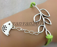 american mints - Infinity Lucky Branch Leaf and Lovely Bird Charm Bracelet in Silver Mint Green Wax Cords and Leather Braid charm bracelets