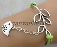 achat en gros de bracelet en cuir tressé argent-Infinity, Lucky Branch Leaf et Lovely Bird Charm Bracelet en Argent - Mint Green Cire Cords et Brace Brace Bracelets en cuir
