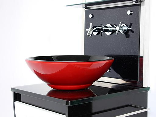 Red Bathroom Sink Bowl : of Red Bathroom Sink Bowl Picture With Fake Drawer Under Bathroom Sink ...