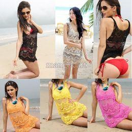 Wholesale In A Stock Women s Girl Knitting Round Collar Sleeveless Flower Hollow Vest Beach Dress Bikini Smock Swimwear B12 CB018771
