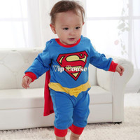 Cheap 5pcs lot Spring superman pajamas Cool baby clothing Kid costume New arrival Baby Toddler Kid Boy Romper Gift SV000172 b014
