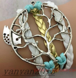 Wholesale Infinite Cross bracelets anchor Love Tree Bicycle Birds leather weave bracelet warps bracelet friendship bracelet Couple bird wishing