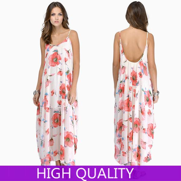 Slit Summer Dress 2014 Casual Floral Printed Long Maxi ...
