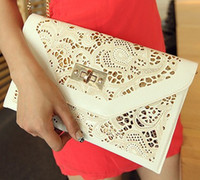 Handbags Yes Flap Pocket Wholesale-Chain White Hollow Envelope Clutch Red Women Leather Handbags New 2014 Women Messenger Bags Free Shipping Purse Wallet Wholesale