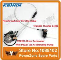 Wholesale KEIHIN mm PZ30 Carburetor Power Jet Accelerating Pump Visiable Transperent Throttle Settle Dual Cable IRBIS