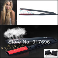 Wholesale New glaze professionalblack ceramic coating black hair straightener straight clip iron board wet dry dual stick