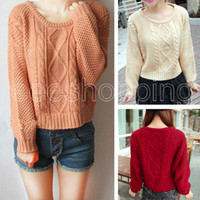 Cheap PQ533 Retro Vintage New Women Ladies Short Waist Solid Argyle Long Sleeve Casual Loose Pullover Jumper Knitted Sweater Knitwearknit cardigan