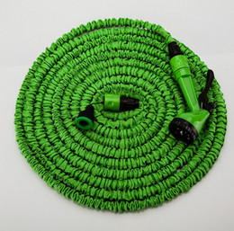 Discount 25ft hose spray DHL Free Shipping 25FT 50FT 75FT 100FT HOSE Expandable & Flexible Water Garden Hose Hose Flexible Water Hose Blue Green + FREE Spray Nozzle