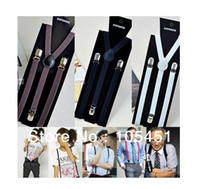 Wholesale Adult Suspenders Women Mens Clip on Braces Elastic Y back Suspenders Adjustable Braces Colorful