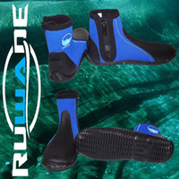 Wholesale RUWADE diving shoes diving boots men beach shoes YKK resin zipper thicker rubber sole mm neoprene