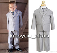 Suits kids tuxedo - Flower BoyCustom Made Little Men Light Grey Three Buttons Suits Notch Lapel Boy s Kids Formal Occasion New Design Wedding Party Tuxedos