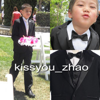 Suits kids tuxedo - Custom Made Little Men Black One Buttons Suits Notch Lapel Boy s Kids Formal Occasion New Design Wedding Party Tuxedos