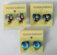 Wholesale free shpping new Frozen Ear Clip Children heart shaped glass earrings ear clip cm