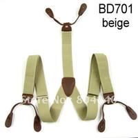 Wholesale Adult Braces Unisex Suspender Adjustable Leather Fitting Six Button Holes Beige BD701