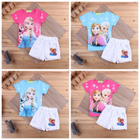 Girl Spring / Autumn Short Summer babies girls outfits printed children casual sets short sleeve T-shirt tops+shorts pant 2pcs set kids clothing 10pcs=5sets