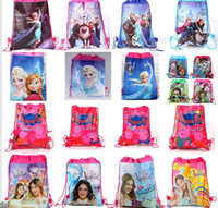 Wholesale Hot styles Frozen Hangbags kids School BagsAnna Elsa Princess Romance Woven Double Sided Printing Drawstring Bags peppa pig bags