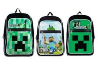 Wholesale three style Minecraft Backpack Game My World PVC Waterproof Shoulder Children School Bags Boys Mochila Double Shoulder Bag Kids Schoolbag