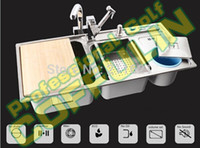 Wholesale 35 quot Triple Bowl Kitchen Sinks SUS304 CM Washing Sink With Full Complete Accessories
