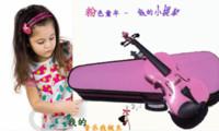 Wholesale All solid wood handmade violin adult child violin Pink portable case violin