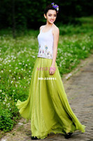 Cheap Hot Sale! Women Sexy Summer Skirts New Retro Lady Full Circle Boho Gauze Chiffon Long Skirt Pleated Long Maxi Skirt b7 SV002728