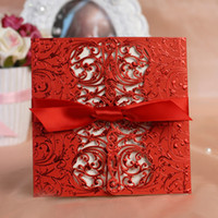 Cheap free print laser cut lace Wedding invitation red card with ribbon bow +envelopes+seals personalized customizing free shipping