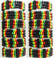 Cheap 12pcs Vintage Africa Style Wooden Beads Bracelets Elastic Wood Bangle cuff Wholesale Fashion Jewelry Lots