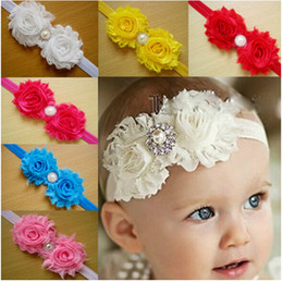 Wholesale Satin Hair Bands Pearls - Wholesale -Baby Head Bands Satin And Chiffon Flower With Pearls Rhinestones Baby Headband Girl Hair Accessories