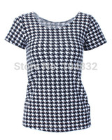 Cheap EAST KNITTING X-207 New 2014 Houndstooth Print Women t shirt Summer Striped Top Punk Sexy Ladies Clothing Plus Size