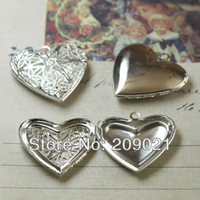 Wholesale Charms Silver Plated Necklace Pendants European Antique Hearts Prayer Box Photo Locket Studded Jewelry